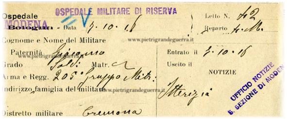 Cartellino Ospedale Militare Modena