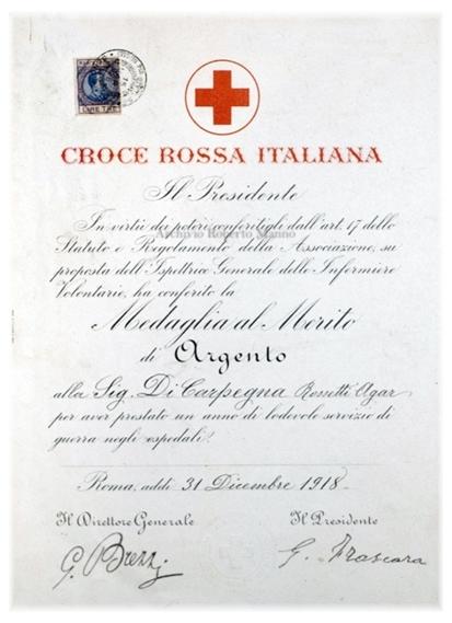 Diploma Medaglia infermiera Di Carpegna